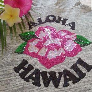 VS Pink Hibiscus Sequin Bling Hoodie Aloha Hawaii